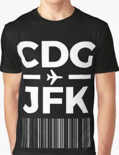 Paris New York Charles de gaulle to JFK New York Airport Code Design Graphic T-Shirt