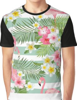 Tropical Flamingo Summer Time Design Graphic T-Shirt
