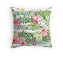 Tropical Flamingo Summer Time Design Throw Pillow