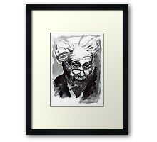 Einstein portrait in B&W ink Framed Print