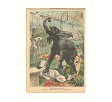 Elephant rampage Crystal Palace London 1900 Art Print