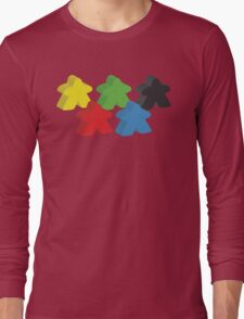 Set of 5 meeples (Board game tokens) Long Sleeve T-Shirt