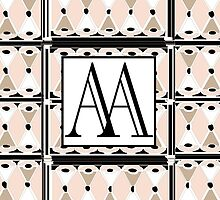 1920s Pink Champagne Gatsby Monogram (double initials AA) by CecelyBloom