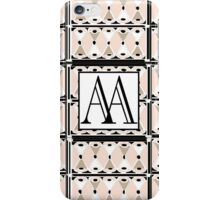 1920s Pink Champagne Gatsby Monogram (double initials AA) iPhone Case/Skin