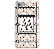 1920s Pink Champagne Deco Monogram (double initials AA) iPhone Case/Skin