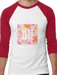 Tropical Paradise Design with Flowers Men's Baseball ¾ T-Shirt