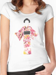 KIMONO in cherry blossom Women's Fitted Scoop T-Shirt