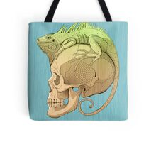 colorful illustration with iguana and skull Tote Bag