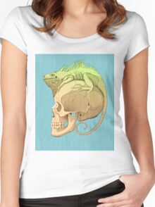 colorful illustration with iguana and skull Women's Fitted Scoop T-Shirt