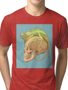 colorful illustration with iguana and skull Tri-blend T-Shirt