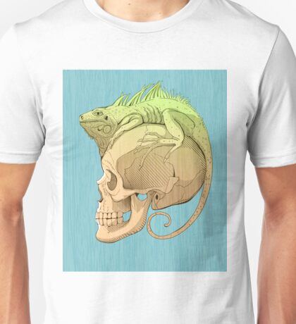 colorful illustration with iguana and skull Unisex T-Shirt