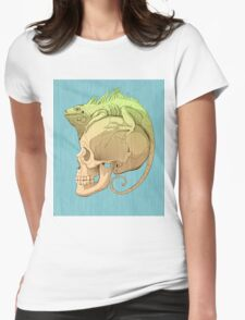 colorful illustration with iguana and skull Womens Fitted T-Shirt