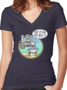 Put It On My Bill Women's Fitted V-Neck T-Shirt