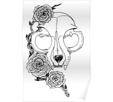 Cat skull and roses Poster