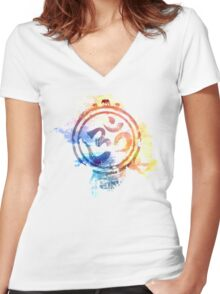 colorful ohm elephant logo Women's Fitted V-Neck T-Shirt