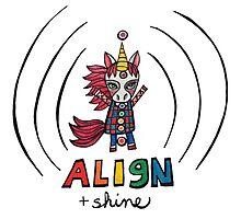 Align & Shine: Cute Unicorn Chakra Illustration Watercolor Photographic Print
