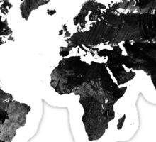 Black watercolor world map Sticker