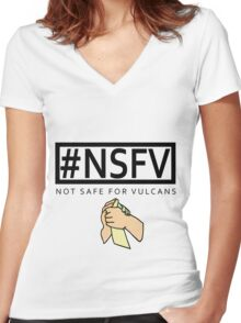 #NSFV - Not Safe For Vulcans - this simple feeling Women's Fitted V-Neck T-Shirt