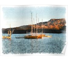 Arzachena: seascape with boats Poster