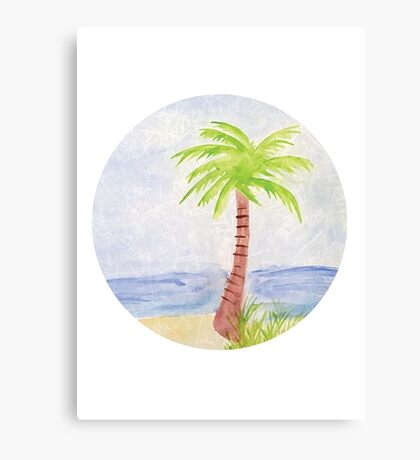 Palm Tree Watercolor Canvas Print