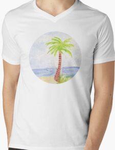 Palm Tree Watercolor Mens V-Neck T-Shirt