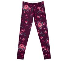 Pixel Floral - Arrangement in Pink (dark) Leggings
