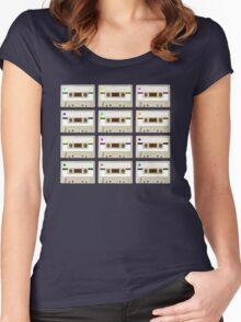 Retro Cassette Tape Print Women's Fitted Scoop T-Shirt