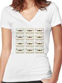 Retro Cassette Tape Print Women's Fitted V-Neck T-Shirt