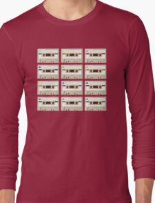 Retro Cassette Tape Print Long Sleeve T-Shirt