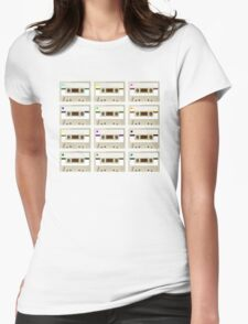 Retro Cassette Tape Print Womens Fitted T-Shirt