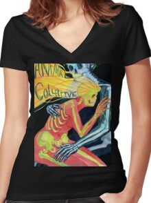 Animal Collective Skeletons Women's Fitted V-Neck T-Shirt