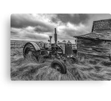 Crank that Tractor! - BW Canvas Print