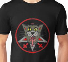 GRAY CAT on black Unisex T-Shirt