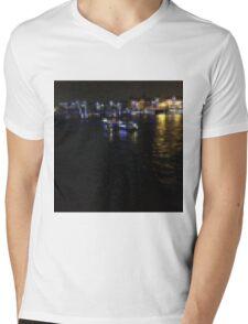 London river scene Mens V-Neck T-Shirt
