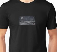peaceful snowy night chalkboard scene Unisex T-Shirt