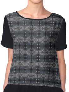 peaceful snowy night chalkboard scene pattern Chiffon Top