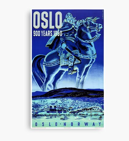 Oslo Norway Vintage Travel Poster Restored Canvas Print