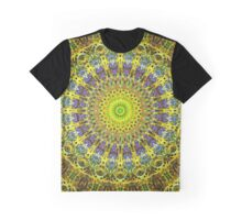 Clover In Iron Cross In Yellow In Blue kaleidoscope Graphic T-Shirt