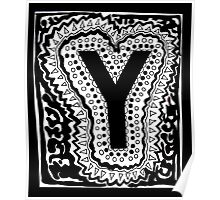 Initial Y Black and White Poster