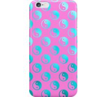 Teal Pink Faux Foil Yin Yang Metallic Tao Balance Chinese Taoism Symbol  Background Texture Pattern iPhone Case/Skin