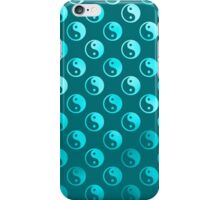 Teal Blue Faux Foil Yin Yang Tao Balance Metallic Chinese Taoism Symbol  Background Texture Pattern iPhone Case/Skin