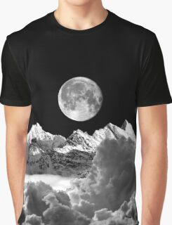 Cloud Mountain and Moon Graphic T-Shirt