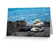 White Coral Zen Rocks on Hawaiian Coast Ocean Water Greeting Card