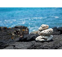 White Coral Zen Rocks on Hawaiian Coast Ocean Water Photographic Print