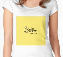 Funny Bello Hello Typography in Yellow and Black Women's Fitted Scoop T-Shirt
