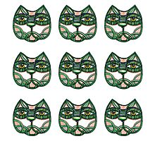 Cats green pattern white Photographic Print