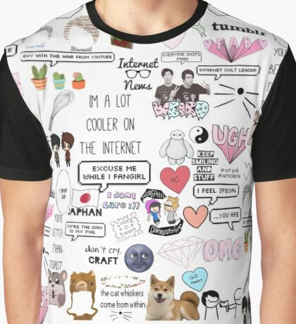 Dan and Phil sticker collage.  Graphic T-Shirt