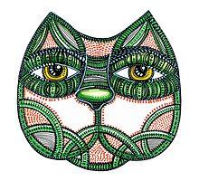 Cat green pattern white Photographic Print