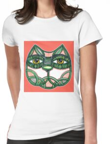 Cat green pattern + RED Womens Fitted T-Shirt