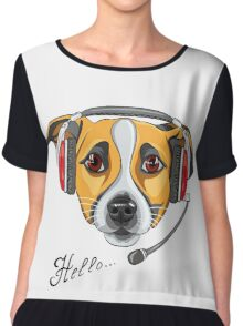 Dog Jack Russell Terrier as call center operator Chiffon Top